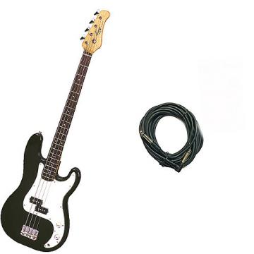 Custom Bass Pack - Black Kay Electric Bass Guitar Medium Scale w/20ft Cable