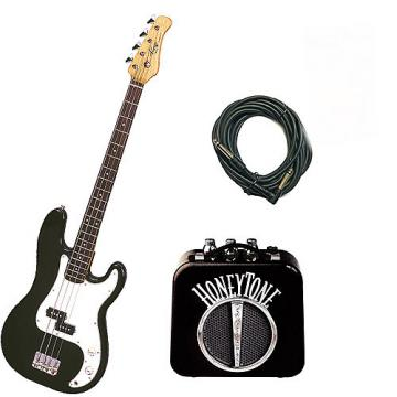 Custom Bass Pack - Black Kay Electric Bass Guitar Medium Scale w/Mini Amp w/Extra Cable