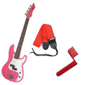 Custom Bass Pack - Pink Kay Bass Guitar Medium Scale w/Red String Winder & Red Strap