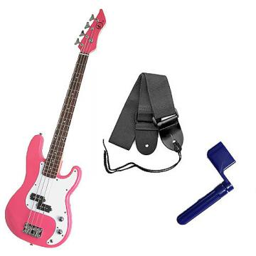 Custom Bass Pack - Pink Kay Bass Guitar Medium Scale w/Blue String Winder & Strap
