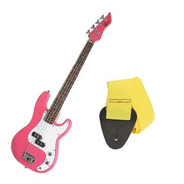 Custom Bass Pack - Pink Kay Electric Bass Guitar Medium Scale w/Yellow Strap