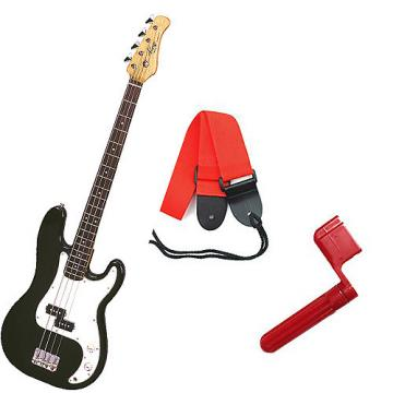 Custom Bass Pack - Black Kay Bass Guitar Medium Scale w/Red String Winder & Red Strap