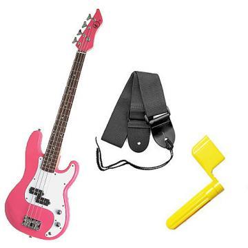 Custom Bass Pack - Pink Kay Bass Guitar Medium Scale w/Yellow String Winder & Strap