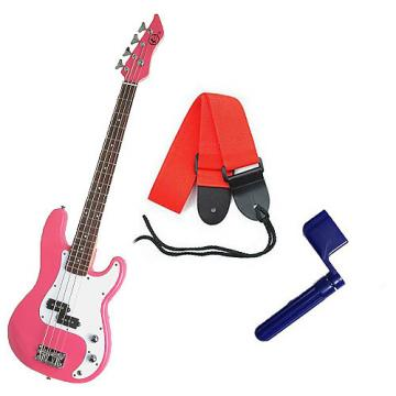 Custom Bass Pack - Pink Kay Bass Guitar Medium Scale w/Blue String Winder & Red Strap