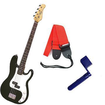 Custom Bass Pack - Black Kay Bass Guitar Medium Scale w/Blue String Winder & Red Strap