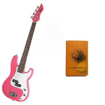 Custom Bass Pack - Pink Kay Electric Bass Guitar Medium Scale w/Yellow Pick Case