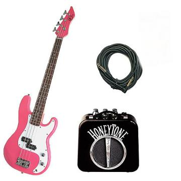 Custom Bass Pack - Pink Kay Electric Bass Guitar Medium Scale w/Mini Amp w/Extra Cable