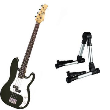 Custom Bass Pack - Black Kay Electric Bass Guitar Medium Scale w/Silver Guitar Stand