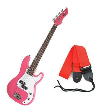 Custom Bass Pack - Pink Kay Electric Bass Guitar Medium Scale w/Red Strap