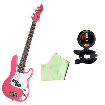 Custom Bass Pack - Pink Kay Electric Bass Guitar Medium Scale w SN8 Tuner & Polish Cloth
