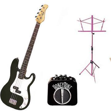 Custom Bass Pack - Black Kay Electric Bass Guitar Medium Scale w/Mini Amp & Black Stand
