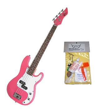 Custom Bass Pack - Pink Kay Electric Bass Guitar Medium Scale w/Guitar Care Kit