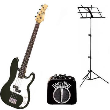 Custom Bass Pack - Black Kay Electric Bass Guitar Medium Scale w/Mini Amp & Black Stand