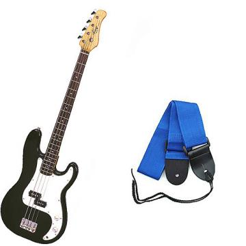 Custom Bass Pack - Black Kay Electric Bass Guitar Medium Scale w/Blue Strap
