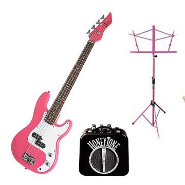 Custom Bass Pack - Pink Kay Electric Bass Guitar Medium Scale w/Mini Amp & Pink Stand