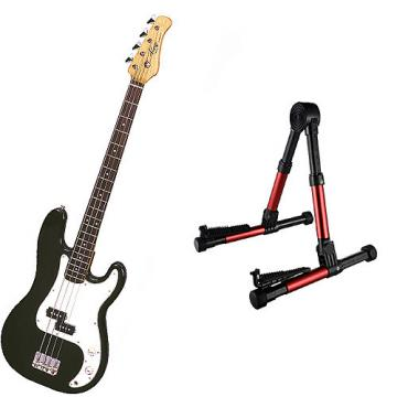 Custom Bass Pack - Black Kay Electric Bass Guitar Medium Scale w/Red Guitar Stand