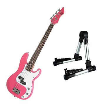 Custom Bass Pack - Pink Kay Electric Bass Guitar Medium Scale w/Silver Guitar Stand