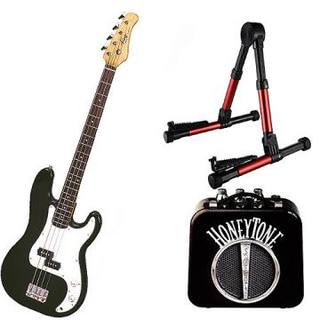 Custom Bass Pack - Black Kay Electric Bass Guitar Medium Scale w/Mini Amp & Red Stand