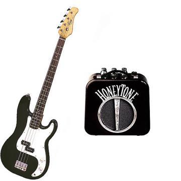 Custom Bass Pack - Black Kay Electric Bass Guitar Medium Scale w/Honey Tone Mini Amp