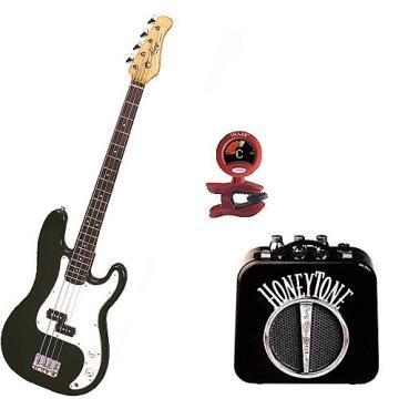Custom Bass Pack - Black Kay Electric Bass Guitar Medium Scale w/Mini Amp & Tuner