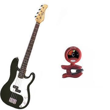 Custom Bass Pack - Black Kay Electric Bass Guitar Medium Scale w/Snark SN2 Tuner