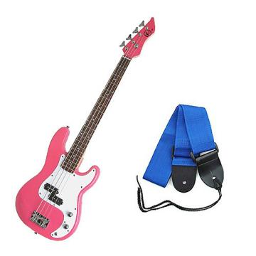 Custom Bass Pack - Pink Kay Electric Bass Guitar Medium Scale w/Blue Strap