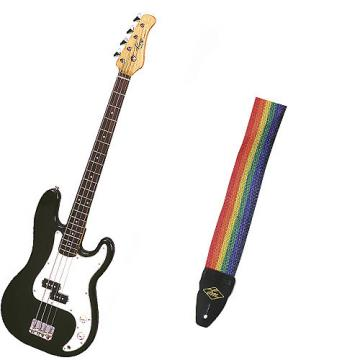 Custom Bass Pack - Black Kay Electric Bass Guitar Medium Scale w/Rainbow Strap