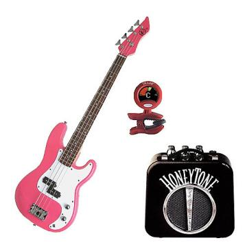 Custom Bass Pack - Pink Kay Electric Bass Guitar Medium Scale w/Mini Amp & Tuner