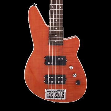 Custom Reverend Mercalli 5 String Bass - Rock Orange Flame Maple
