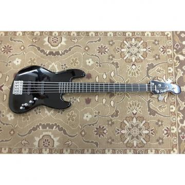 Custom 2015 Squier Deluxe Jazz Bass V Active in Black with Ebonol Fingerboard and Professional Setup!
