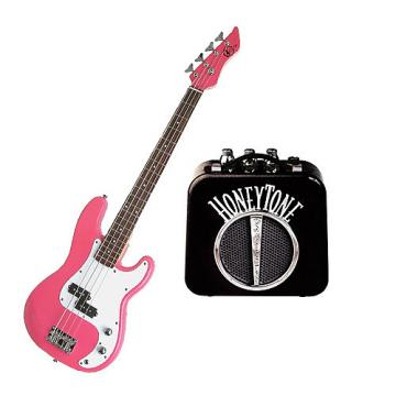 Custom It's All About the Bass Pack - Pink Kay Electric Bass Guitar Medium Scale w/Honey tone Mini Amp