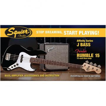 Custom Squier Affinity Series Jazz Bass with Rumble 15 Amp Pack