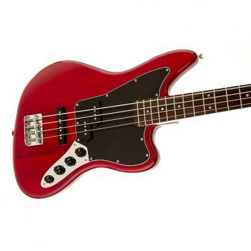 Custom Squier by Fender Vintage Modified Jaguar Bass Special, Transparent Crimson Red