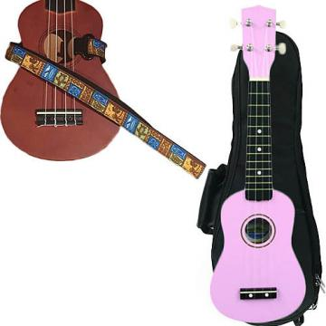 Custom Pink Soprano Ukulele Pack w/Masterstraps Tiki Hawaiian Strap