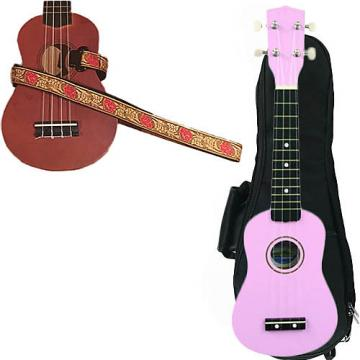 Custom Pink Soprano Ukulele Pack w/Masterstraps Desert Rose Red Strap