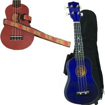 Custom Purple Soprano Ukulele Pack w/Masterstraps Desert Rose Red Strap