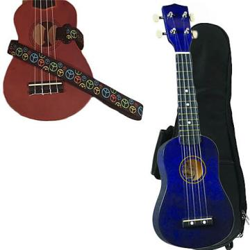 Custom Purple Soprano Ukulele Pack w/Masterstraps Peace Sign Neon Strap