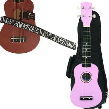 Custom Pink Soprano Ukulele Pack w/Masterstraps White Zebra Strap