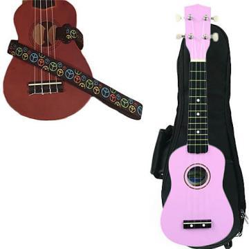 Custom Pink Soprano Ukulele Pack w/Masterstraps Peace Sign Neon Strap