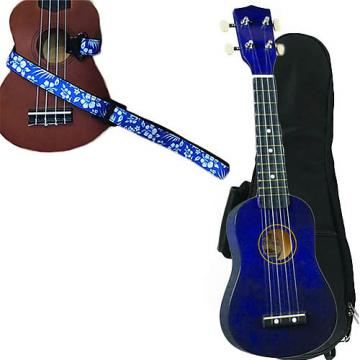 Custom Purple Soprano Ukulele Pack w/Masterstraps Hawaiian Flower Blue Strap