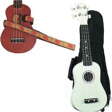Custom White Soprano Ukulele Pack w/Masterstraps Desert Rose Red Strap
