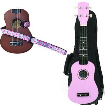 Custom Pink Soprano Ukulele Pack w/Masterstraps Hawaiian Flower Pink Strap