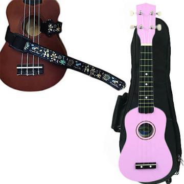 Custom Pink Soprano Ukulele Pack w/Masterstraps Hawaiian Surfer Strap