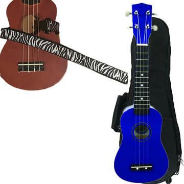 Custom Blue Soprano Ukulele Pack w/Masterstraps White Zebra Strap