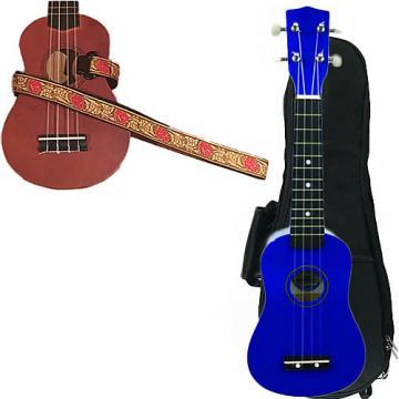Custom Blue Soprano Ukulele Pack w/Masterstraps Desert Rose Red Strap