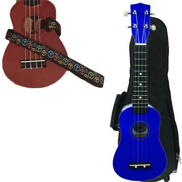 Custom Blue Soprano Ukulele Pack w/Masterstraps Peace Sign Neon Strap