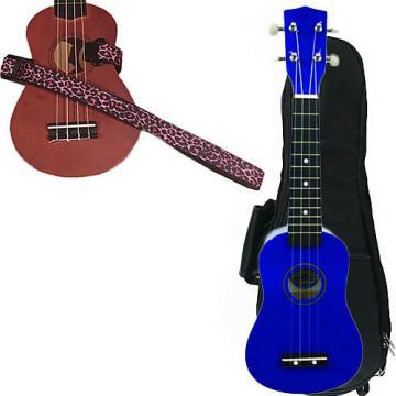 Custom Blue Soprano Ukulele Pack w/Masterstraps Pink Leopard Strap