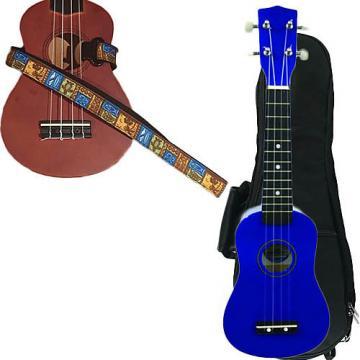 Custom Blue Soprano Ukulele Pack w/Masterstraps Tiki Hawaiian Strap