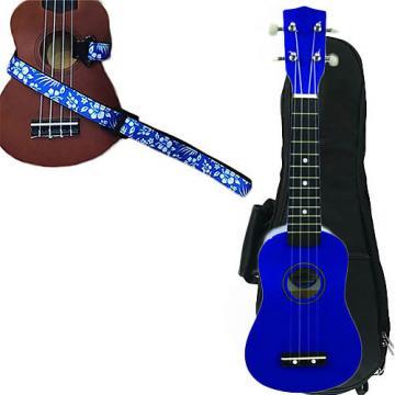 Custom Blue Soprano Ukulele Pack w/Masterstraps Hawaiian Flower Blue Strap