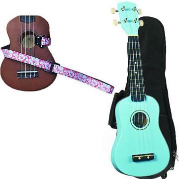 Custom Baby Blue Soprano Ukulele Pack w/Masterstraps Hawaiian Flower Pink Strap